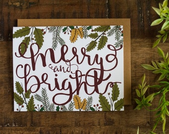 Christmas Card, Merry and Bright, Hand Illustrated Card, Christmas Greeting Card, Holiday Greeting Card