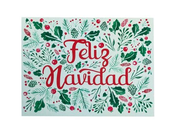 Feliz Navidad Card Spanish Card Spanish Christmas Card Etsy