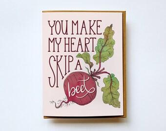 Valentine's Day card, Love Greeting Card, Skip a Beet, Beet, Anniversary Card, Card for Boyfriend, Card for Girlfriend, I Love You Card
