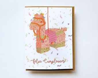 Feliz Cumpleanos Card, Pinata card, Birthday Llama, Happy Birthday Card, Birthday Card, Llama Birthday Pinata, Spanish card, Espanol