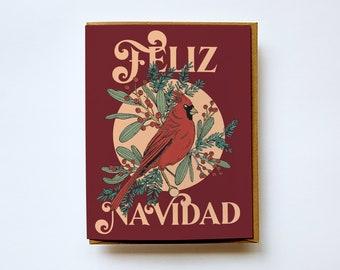 Feliz Navidad card, Cardenal, Tarjeta en Español, Spanish Christmas card, Holiday Card, Christmas Card, Greeting Card, Vintage card, Holiday