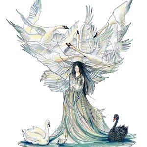 Weeping willow fairy giclee art print fantasy magical folk illustrated female cards
