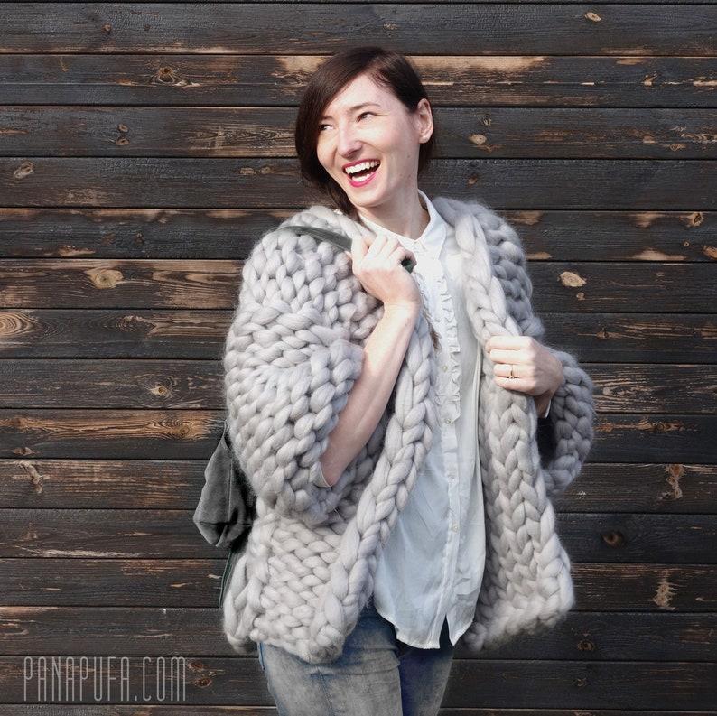 c06f954e2 Chunky knit cardigan grey cardigan Cardigan giant wool big