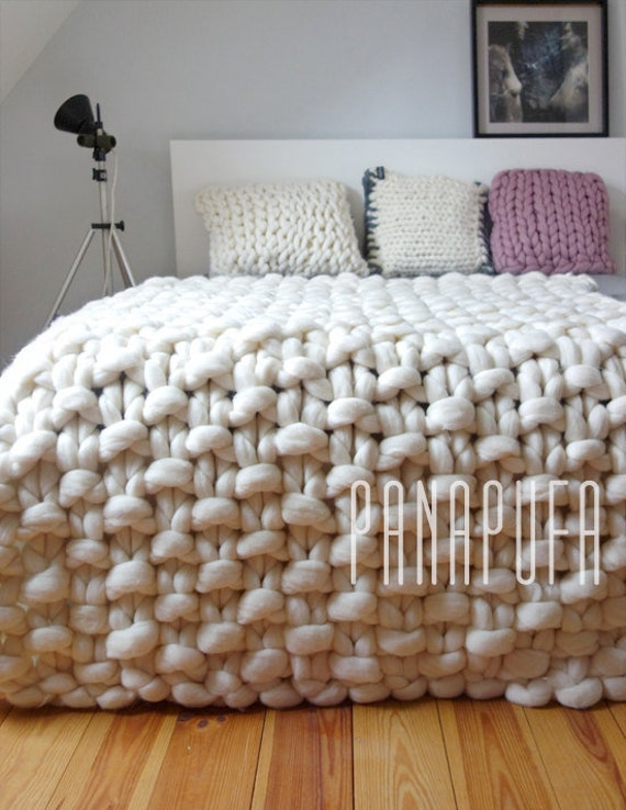 Grande grueso punto de tiro manta de lana grueso gigante | Etsy