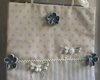 Copriforno fabric (handmade, grey striped/light celestial polka dots, plaster decorations)