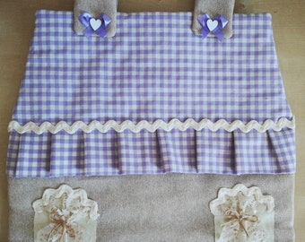 Cottage-shaped fabric oven cover (handmade, lilac with decorations)