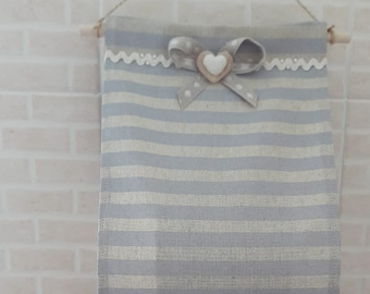 Door roll of toilet paper in fabric (handmade, striped beige and blue)