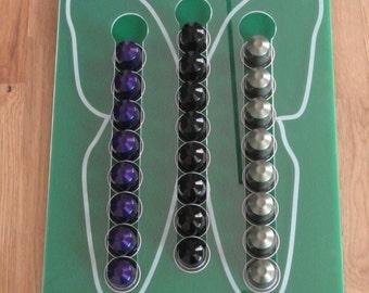 Display Nespresso capsules, for 3 x 8 capsules, laser cut plexi plexiglass
