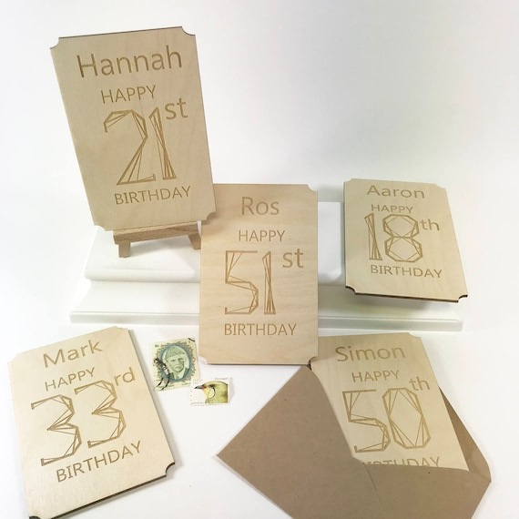 Contemporary Birthday Card Personalised CardsPersonalised Number CardsPersonalized Milestone Cards