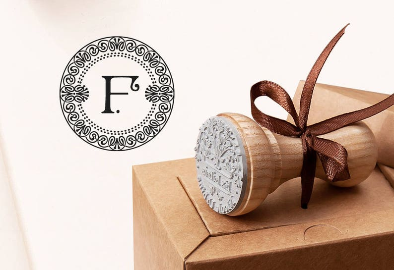 F MONOGRAM STAMP - Letter F Stamp - Business Card Stamp - Initial Gift F -  F Rubber Stamp - Business Monogram F - Birthday Gift F