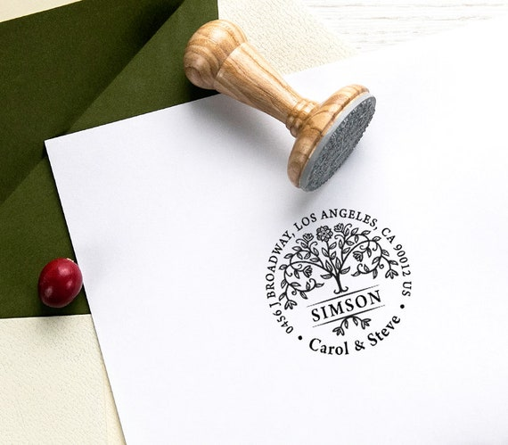 gift Address stamp personalized FAMILY HOUSE II wooden stamp or automatic stamp customized address stamp family stamp