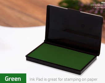 INK PAD STAMP - Green Ink Pad - Stamp Ink Colours - Choice of Colors - Ink for Rubber Stamp