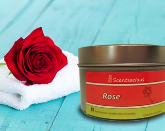 Scentsacious Rose Scented Soy Candle Tin Medium size 170g