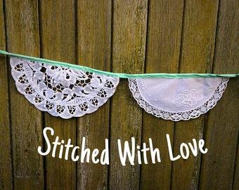 Vintage Doily Bunting. Wedding Bunting. Fabric Garland. Vintage Doily Garland. Ceremony Backdrop. Baby Shower Bunting. Vintage Wedding Decor