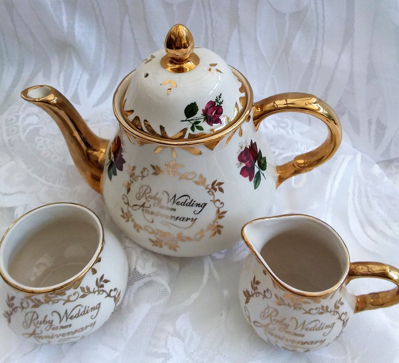 Pottery, Porcelain & Glass Trend Mark Beautiful Arthur Wood Tea Set