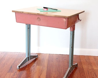 """Vintage """"Classmate"""" Pink and Blue School Desk by the American Seating Company"""