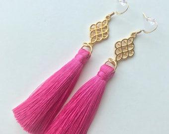 d5fdea1cb Hot Pink Tassel Earrings, Long Tassel Earrings, Short Tassel Earrings,  Trendy Earrings, Fringe Earrings, Stylish Earrings, Silk Tassel