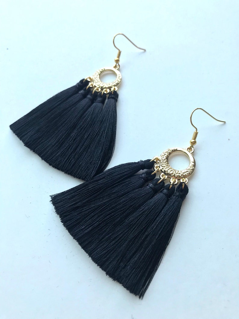 dee628250 Black Tassel Earrings Tassel Earrings Silk Tassel Earrings | Etsy