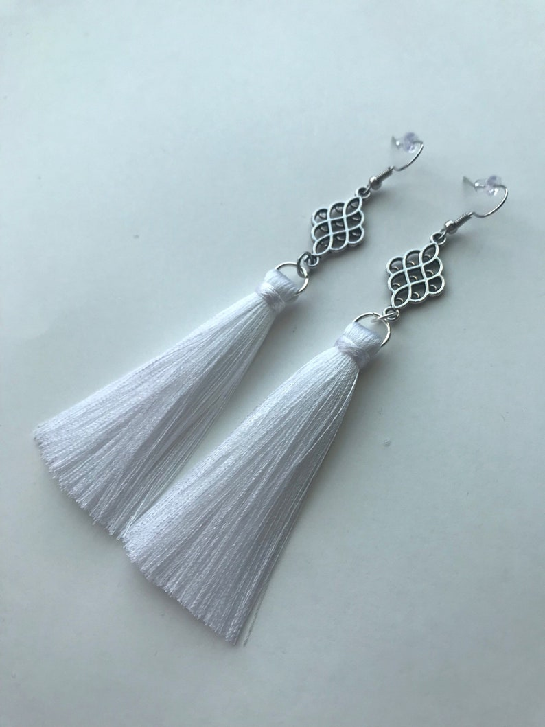 1932e6033 White Tassel Earrings Long Tassel Earrings Short Tassel | Etsy