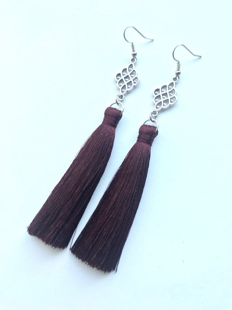 1dfdd22d6 Maroon Tassel Earrings Tassel Earrings Long Tassel Earrings | Etsy