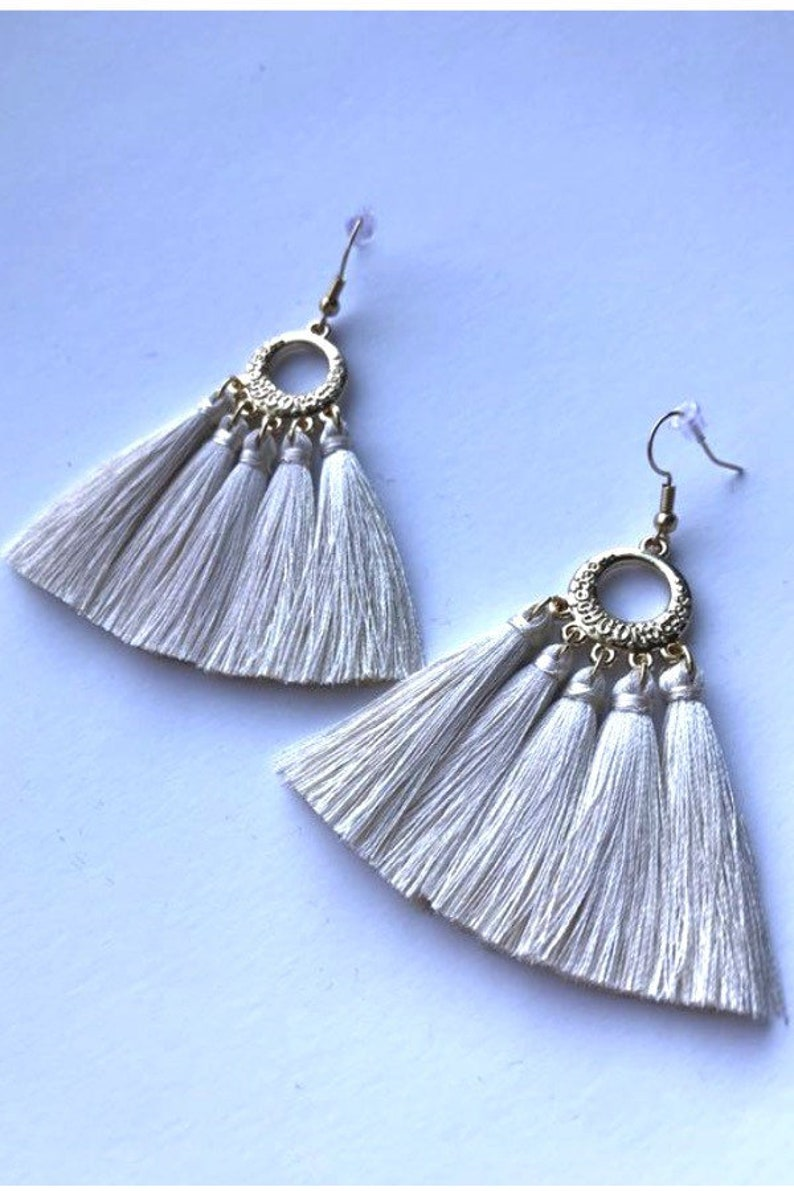 e4f85088c Cream Tassel Earrings Tassel Earrings Silk Tassel Earrings | Etsy