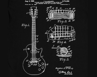 e330a707c Gibson Les Paul Guitar Patent T-Shirt Mens Gift Idea Music Tee Holiday Gift  Christmas Birthday Present
