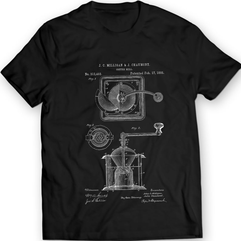 751420f4 Coffee Grinder Burr Mechanical Mill Vintage Patent T-shirt | Etsy