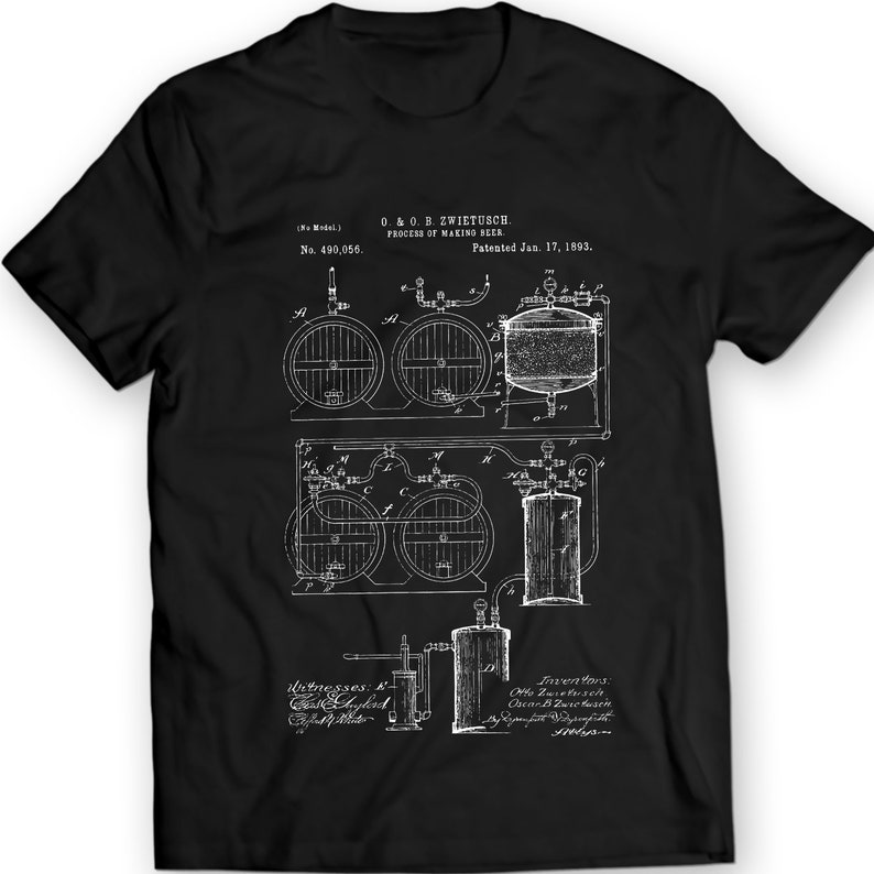 Process Of Making Beer Patent T-Shirt Mens Gift Idea 100% Cotton Holiday  Gift Christmas Birthday Present