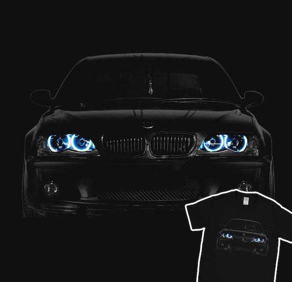 bmw e46 t-shirt blue angel eyes headlights glow black t shirt   etsy
