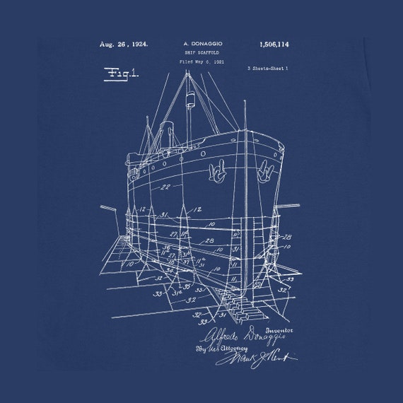 1924 Ship Model Scaffold Patent T Shirt Mens Gift Idea 100