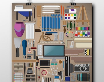 Art Supplies Poster / Poster for Creative / 18x24