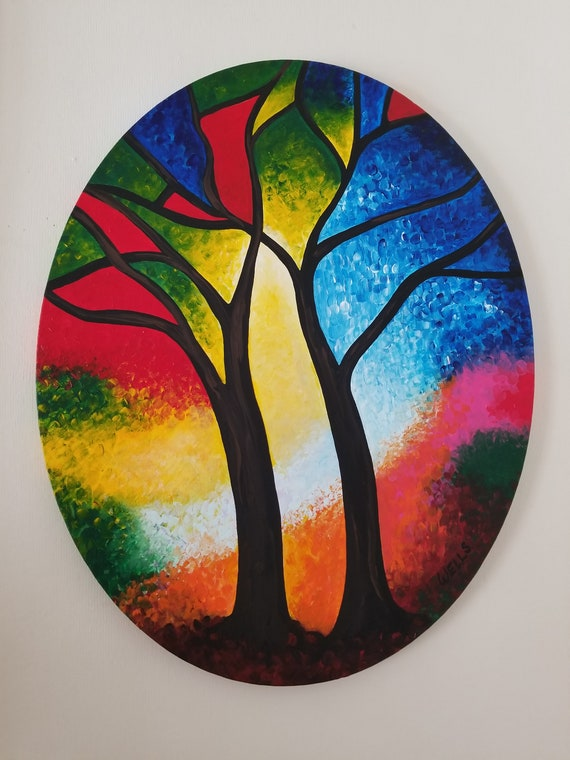 Stained Glass Trees 16 X 20 Oval Canvas, Stained Glass Trees Images