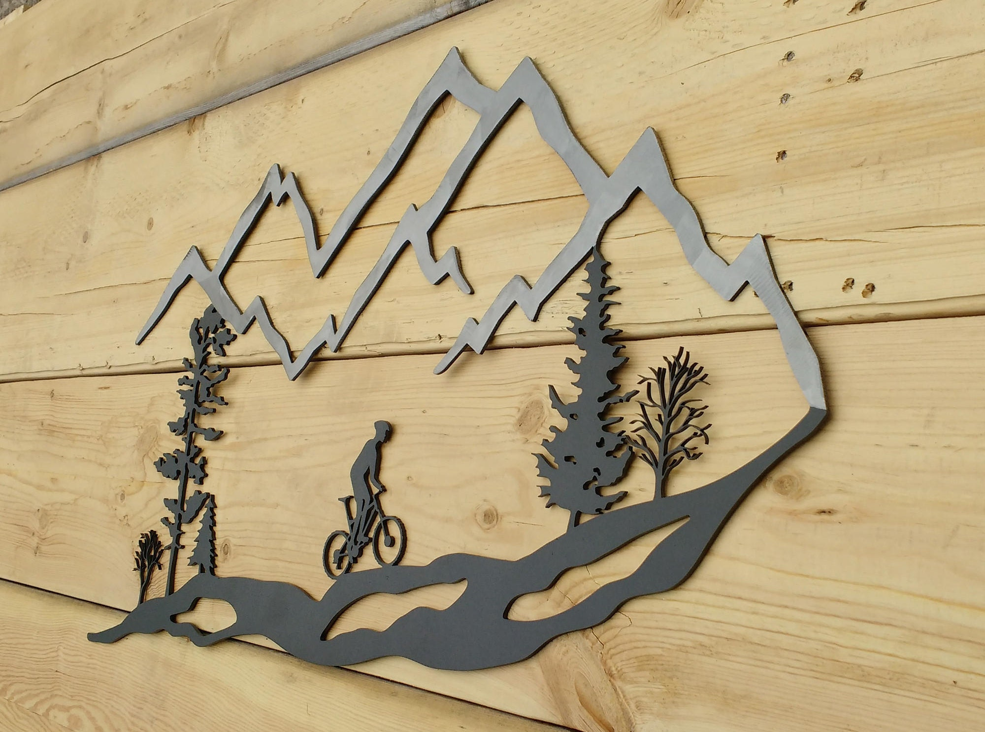 Metal Wall Art Mountain Bike Trees Mountain Bike MTB | Etsy