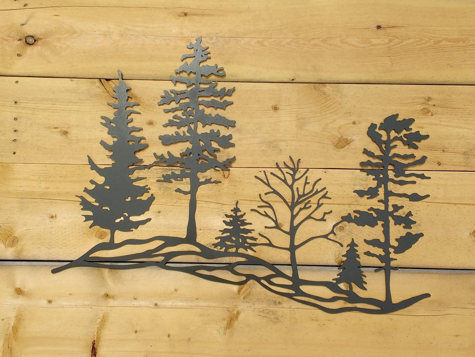 Metal Tree Hillside Metal Wall Art Trees Metal Trees Metal | Etsy