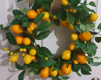 Yellow Lemon wreath ,  Lemon Wreath ,Yellow wreath,  door wreath ,spring/summer wreath