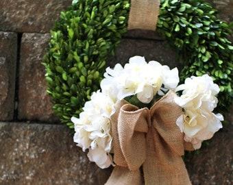 Spring wreath ,silk Hydrangea wreath ,  boxwood wreath , preserved boxwood wreath  ,front door wreath
