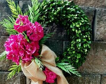 Spring wreath ,silk Hydrangea mix  wreath ,  boxwood wreath , preserved boxwood wreath  ,front door wreath