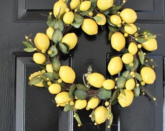 Yellow  wreath ,  Lemon table topper ,berry decor ,front door wreath, summer designs , door hanger ,