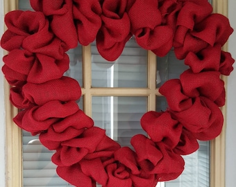 Sold out Valentines  wreath ,Red Burlap wreath, Heart Wreath, Wedding Wreath, Love Wreath, Red Wreath
