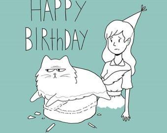 Moody Moggy Birthday Card