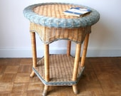 Rare Vintage 1970s 70s Rattan Wicker Occasional Table