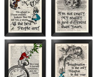 Alice In Wonderland Prints Set Of 4 Poster Quotes Wall Art Sister Gift Decor Best Friend Print ART 210