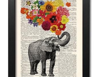 Elephant with flowers, Elephant print, Flower print, Art print, Illustration print, Book page print, Dictionary art, Love print [ART 047]