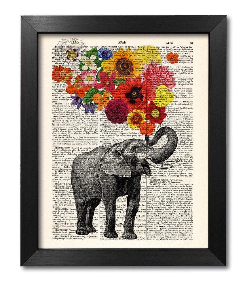 Elefant mit Blumen Elefant Blumendruck Kunstdruck   Etsy
