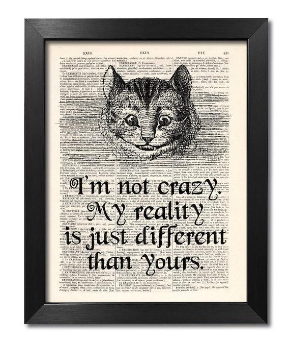 Alice In Wonderland Cheshire Cat Quote Print Dictionary Art Etsy
