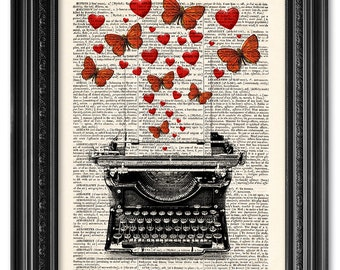 Typewriter illustration print, Butterflies print, Vintage book art print, Dictionary art print, Home Wall Decor, Gift for her [ART 031]