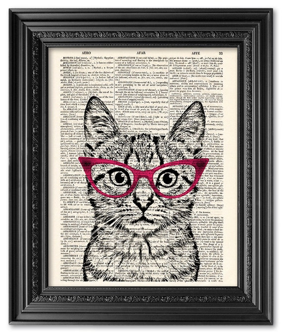 Ginger Cat Print Vintage Dictionary Page Wall Art Picture Animal Wearing Clothes