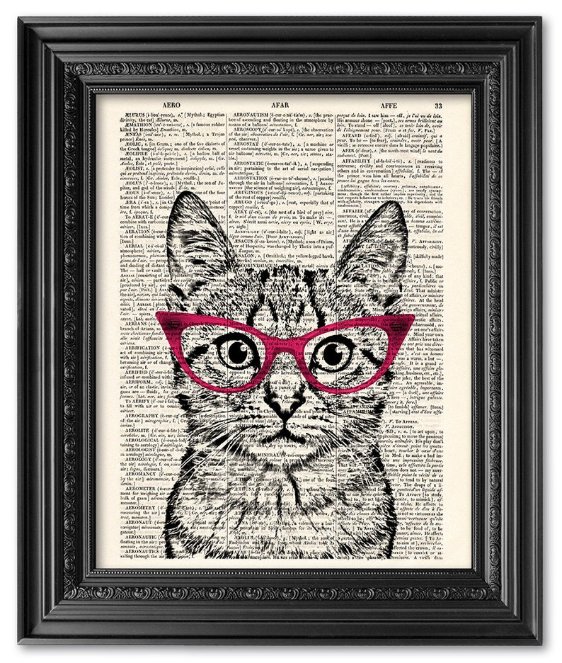 86117945df360 Cat wearing glasses funny cat print Dictionary art print