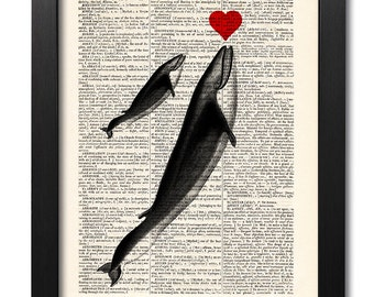 Whale with heart, Love poster, Dictionary art print, Vintage book art print, Illustration print, Home Wall Decor, Dorm decor [ART 006]