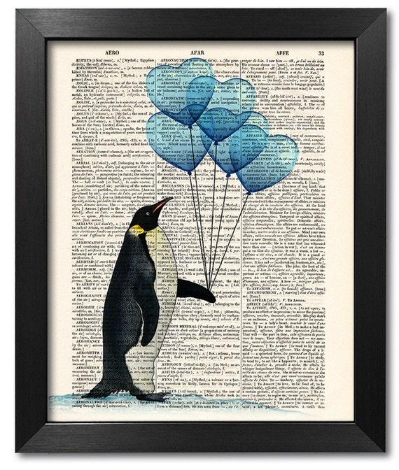 Amour impression pingouin rigolo animal dictionnaire art - Pingouin rigolo ...